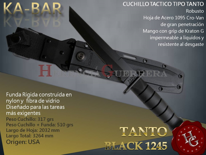 Cuchillo Táctico KA-BAR Tanto Black 1245