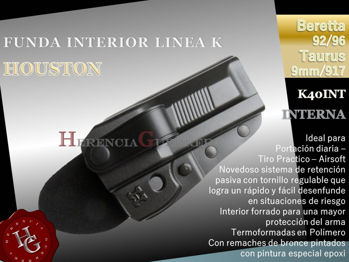 Funda Houston Linea K Interna Beretta 92/96 - Taurus 9mm/917 K40INT