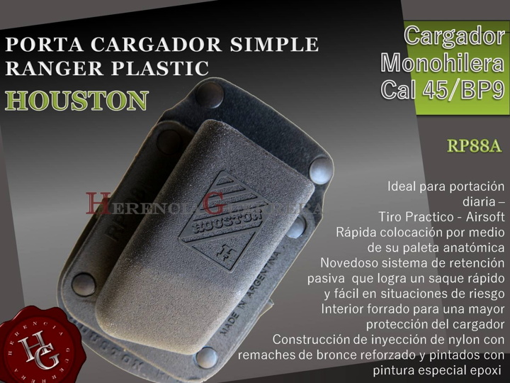 Portacargador Simple Monohilera Cal 45/BP9 Houston Ranger RP88A