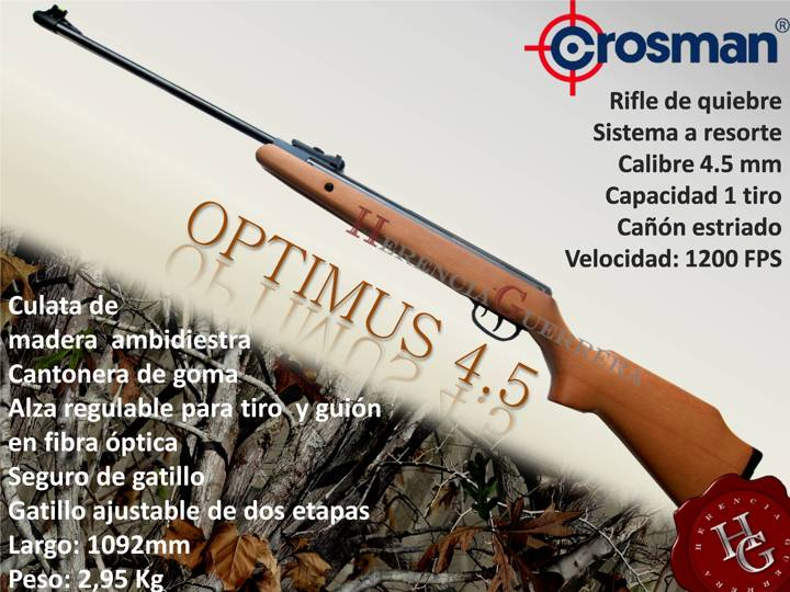 Combo Rifle Crosman Optimus 4.5mm (Mira+400 Balines)