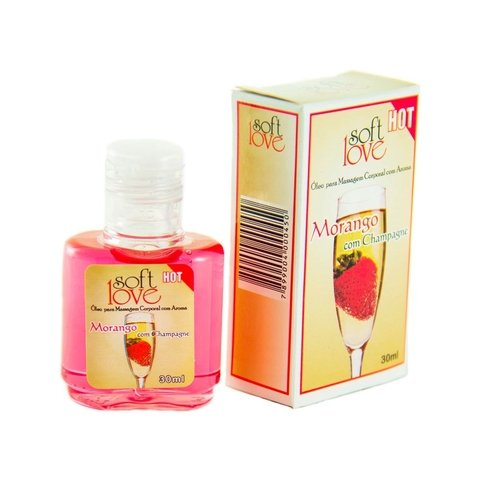 Soft Love - Gel Beijável para Sexo Oral Sabor Morango com Champagne Hot