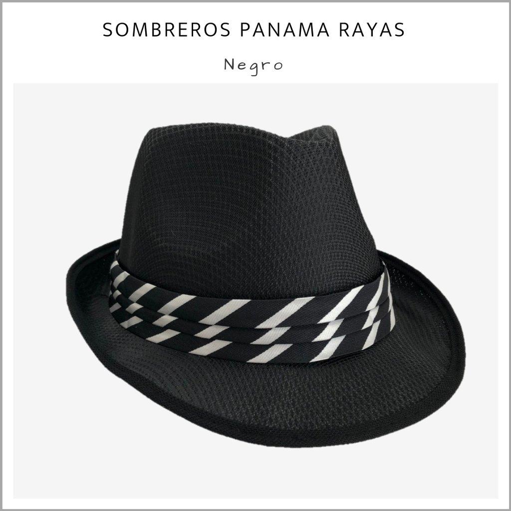 ed5a1d2914a00 Sombrero Panama rayas negro - Pack x 10