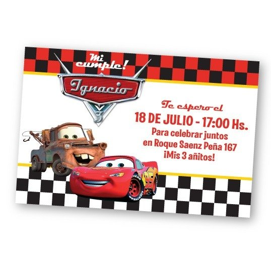 Cars Invitaciones De Cumpleaños