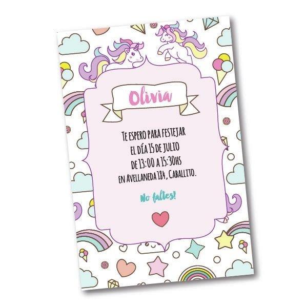 unicornios invitaciones personalizadas