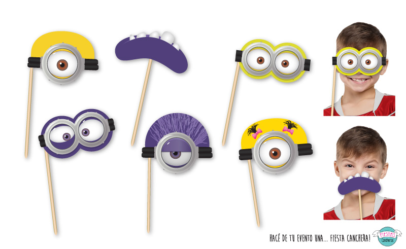 Caretas para photo booth de los minions