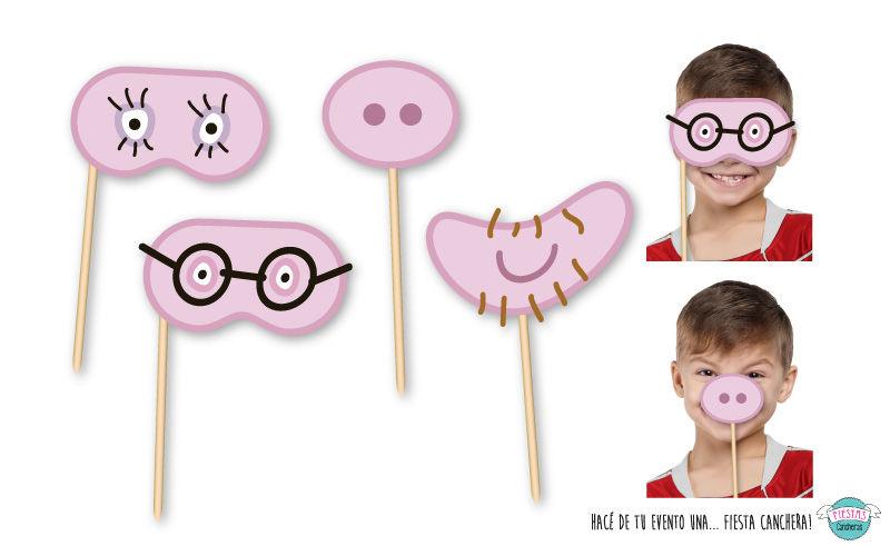 Caretas para photo booth de peppa pig