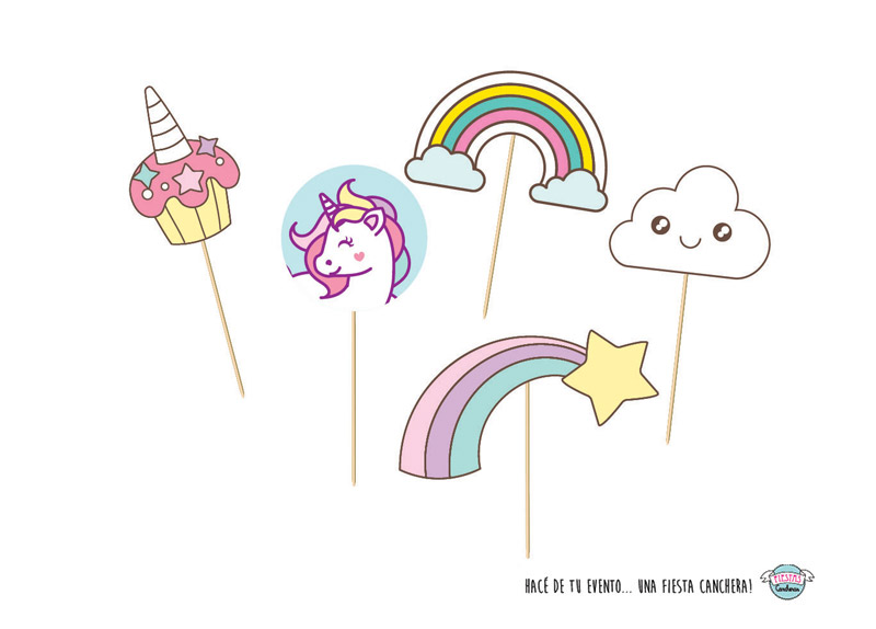 PROPS para photo booth de unicornios