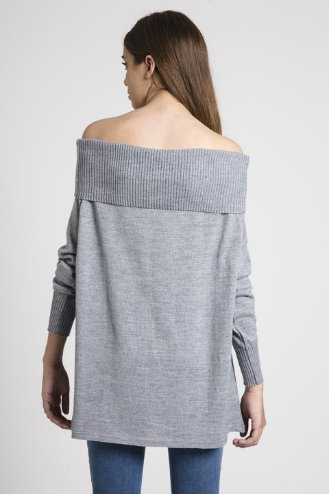 Sweater Off-Shoulder California Gris - Becci