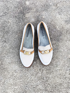 MOCASIN BLANCO Y BEIGE 40 - Camelia Shoes
