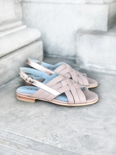 SANDALIA DIANA NUDE Y METALIZADO ROSE - Camelia Shoes