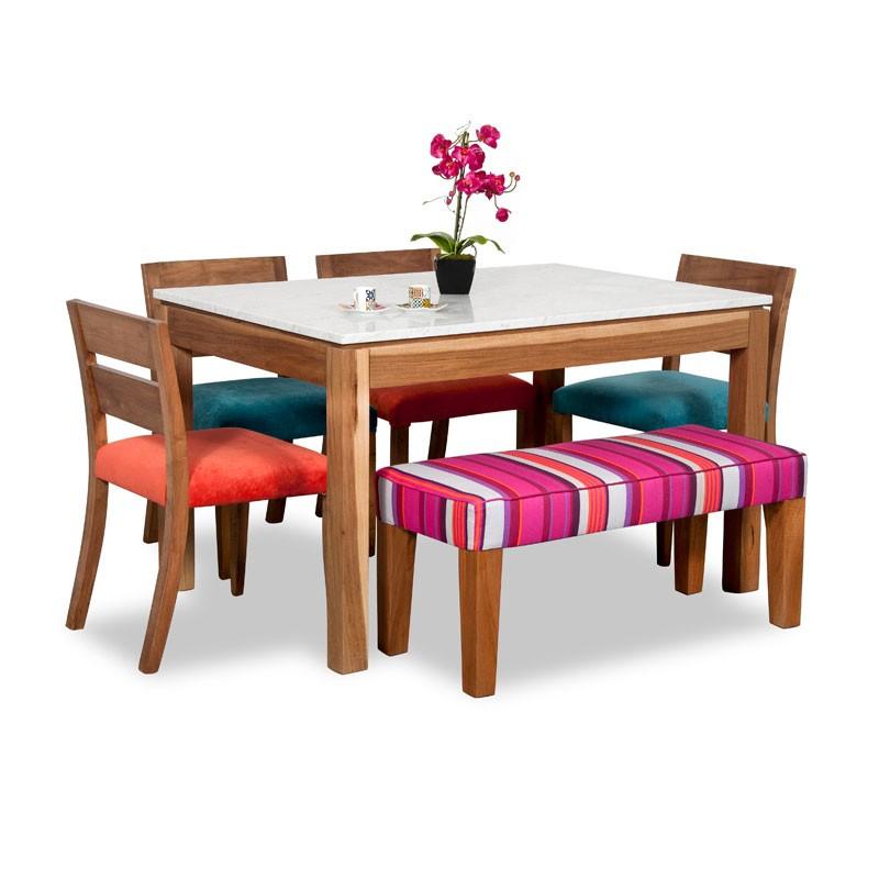 Juego de comedor p 6 personas mesa en para so 4 sillas for Comedor con banca