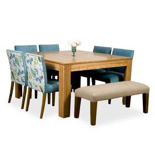 Juego comedor Mesa cuadrada 6 sillas y banco tapizado.