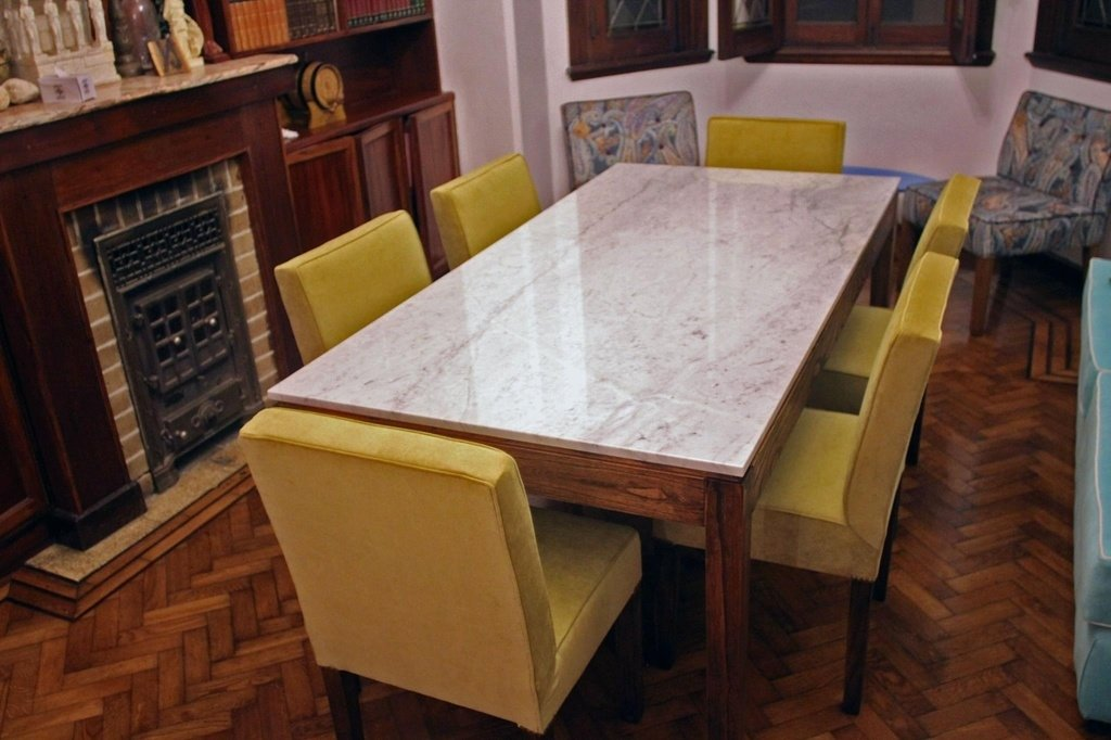 Juego comedor p 6 personas mesa m rmol carrara 6 sillas for Marmol para mesa