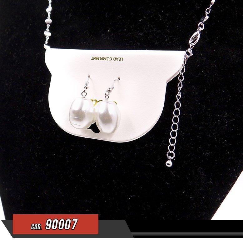 Set de Collar y Zarcillos con perlas - venta por unidad - 90007