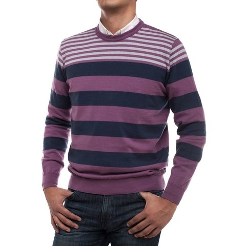 Sweater Cuello Base Rayado Uva