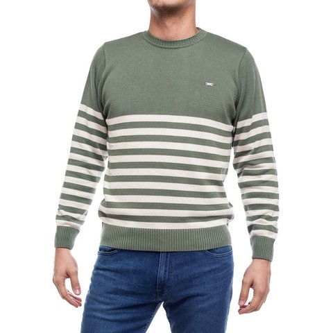 Sweater Base Rayado Verde Seco