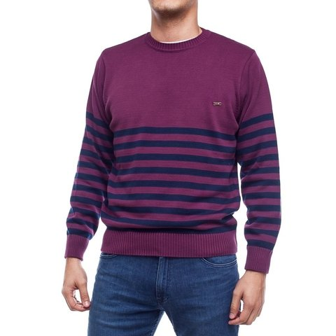 Sweater Base Rayado Malbec