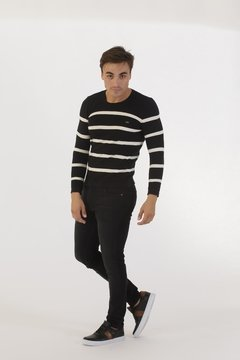 Sweater Punto Resorte Negro - Pato Pampa