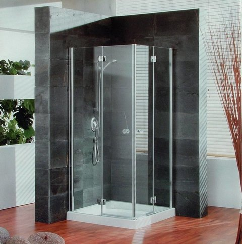 AQUAGLASS BOX DE DUCHA RECTO 80X80 ELITE PLATO + MAMPARA