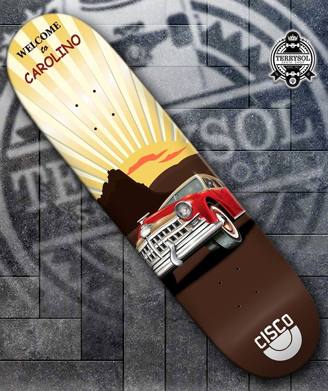 SHAPE DE SKATE CISCO FN+R ALEX CAROLINO VINTAGE CAR - 8