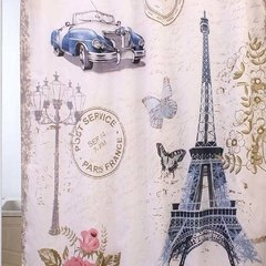 Cortina Baño Teflon Panel Print Diseño Rose In Paris