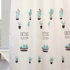 Cortina Baño Lino Diseño Cactus Collection
