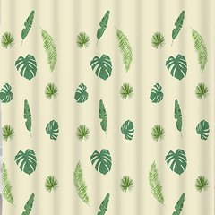 Cortina Baño Lino Diseño Tropical Leaves