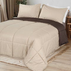 Acolchado Simil Plumon Reversible King Size Kavanagh Color Chocolate