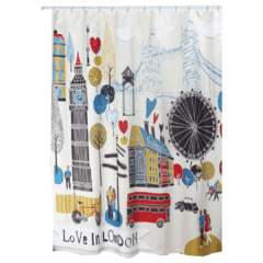 Cortina Baño Teflon Panel Print Diseño Love in London
