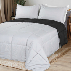 Acolchado Simil Plumon Reversible King Size Kavanagh Color Negro con Gris