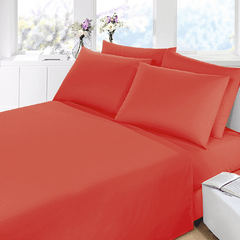 Sabana Prata Lisa 2 Plazas Color Rojo