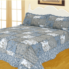 Quilt Patchwork Liberty Twin Diseño Roma