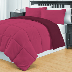 Acolchado Simil Plumon Reversible 2 Plazas Kavanagh Color Bordo
