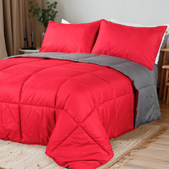 Acolchado Simil Plumon Reversible 2 Plazas Kavanagh Color Gris con Rojo