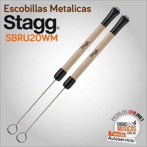 Escobillas Metalicas Stagg Mango Madera SBRU20WM