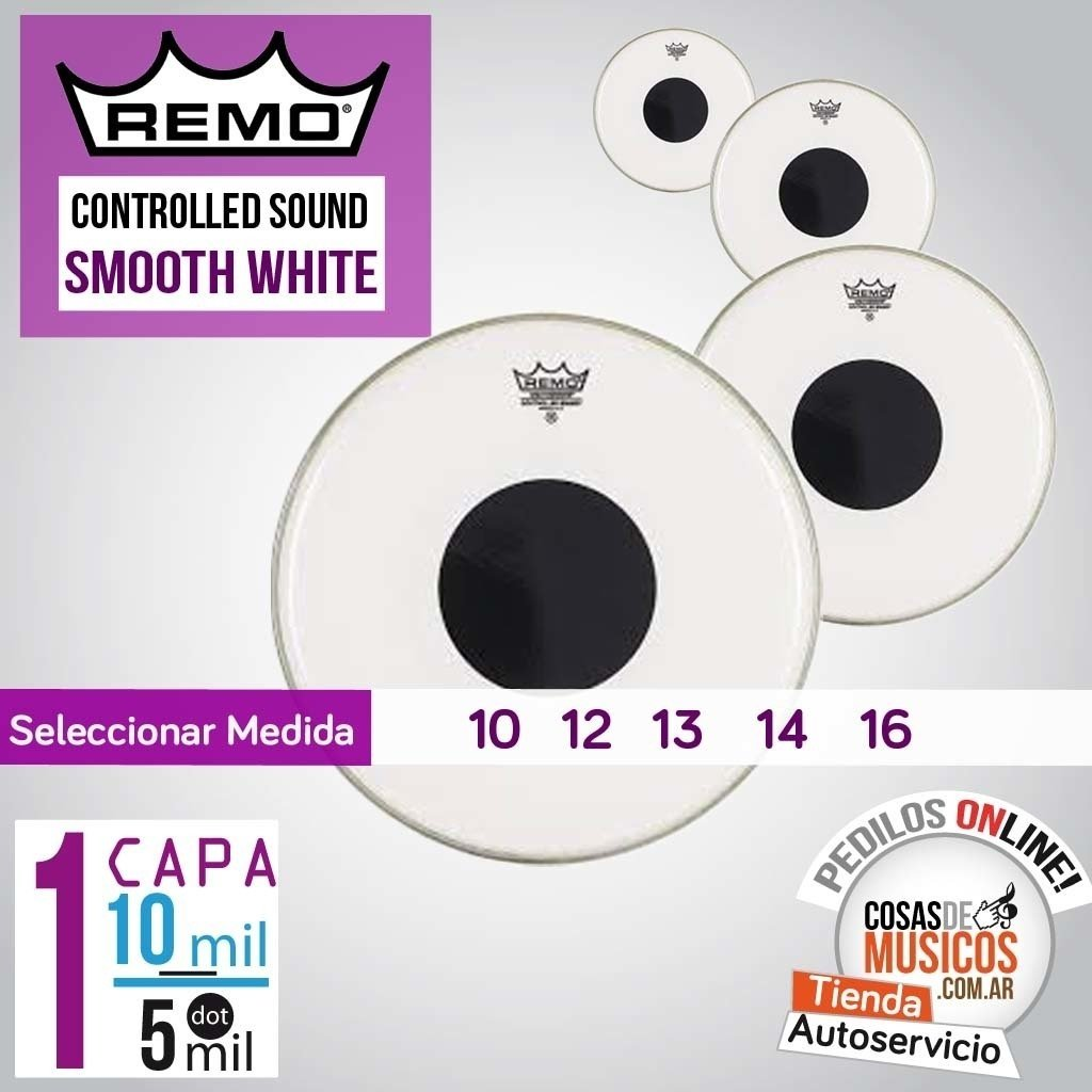 Parche REMO Controlled Sound Smooth White x Medida
