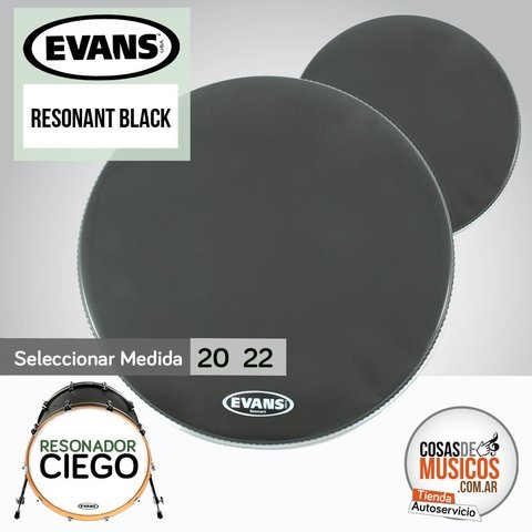 Parche Resonador de bombo EVANS Resonant Black x Medida