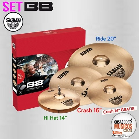 Set de platos Sabian B8 Performance Hh14 + CRASH 16+ RIDE 20+ Cr 14 FREE