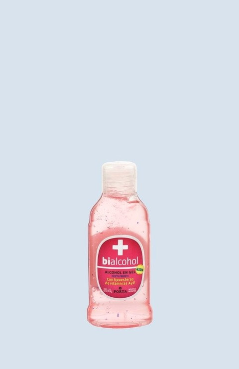 ALCOHOL BIALCOHOL PORTA GEL KIDS PINK 60G X 48 UNIDADES
