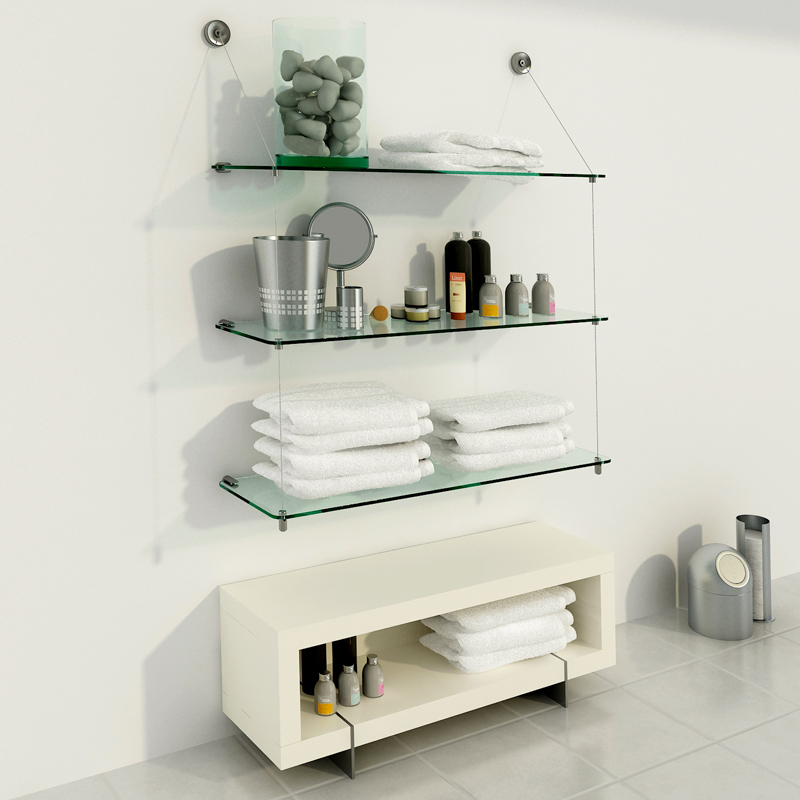 Estanter a de vidrio con estantes de 80cm x 25cm - Estanterias con cristal ...
