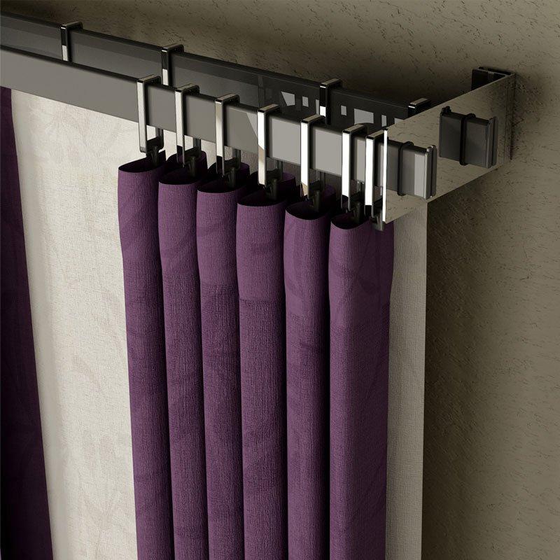 Barral rectangular doble con soportes cromados de - Soporte doble cortina ...