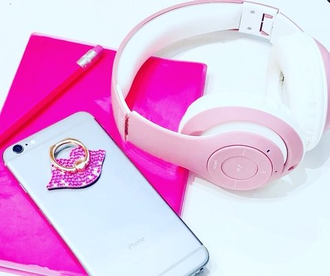 Auricular plegable con bluetooth y radio PINK