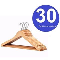 30 Cabides de Madeira Marfim com Barra