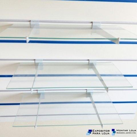 Kit 03 Prateleiras vidro 4mm painel Canaletado + 06 Suportes faca Branco 97da848a7e
