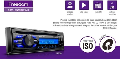Som Automotivo MP3 Player Multilaser Freedom Radio CD USB 4X25W - P3239