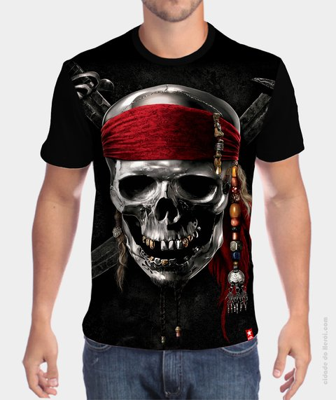 Camiseta Piratas do Caribe Caveira