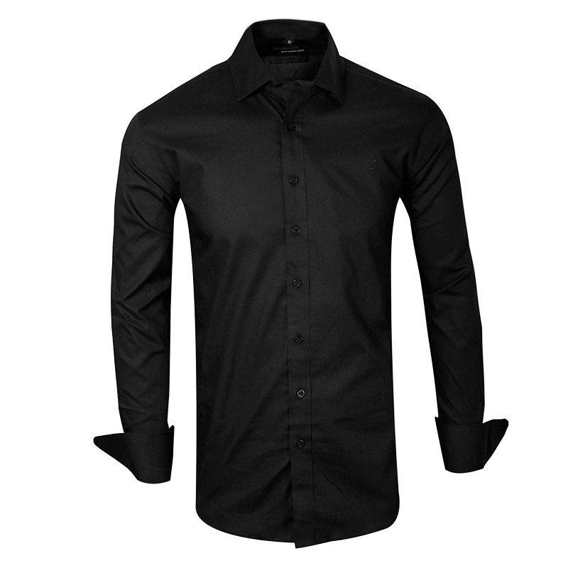 1e8612ae8314a Camisa Negra Lisa entallada z1 - QUALITY IMPORT USA
