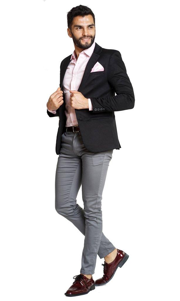 438046dd Saco negro+chupin gris+camisa rosa+zapatos y cinto charol bordó+pañuelo a  tono