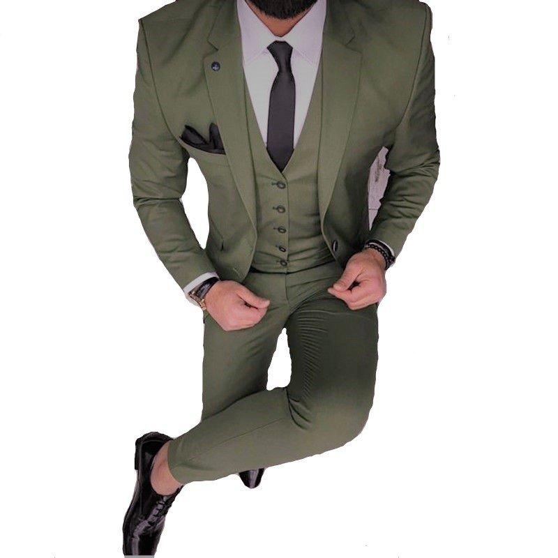 7bbd87da Traje Verde gala satinado slim fit + Zapatos Charol + Camisa blanca slim fit