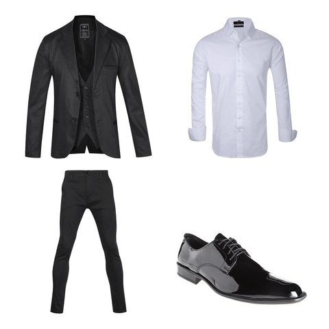 Ambo negro satinado slim fit + Zapatos Charol + Camisa blanca slim fit